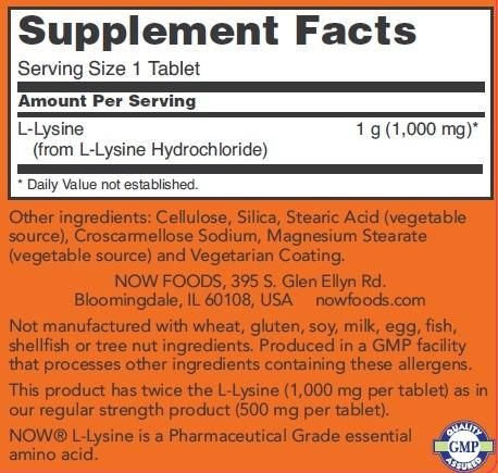 NOW - L-LYSINE 1000 MG DOUBLE STRENGTH - 100 TABLETTA