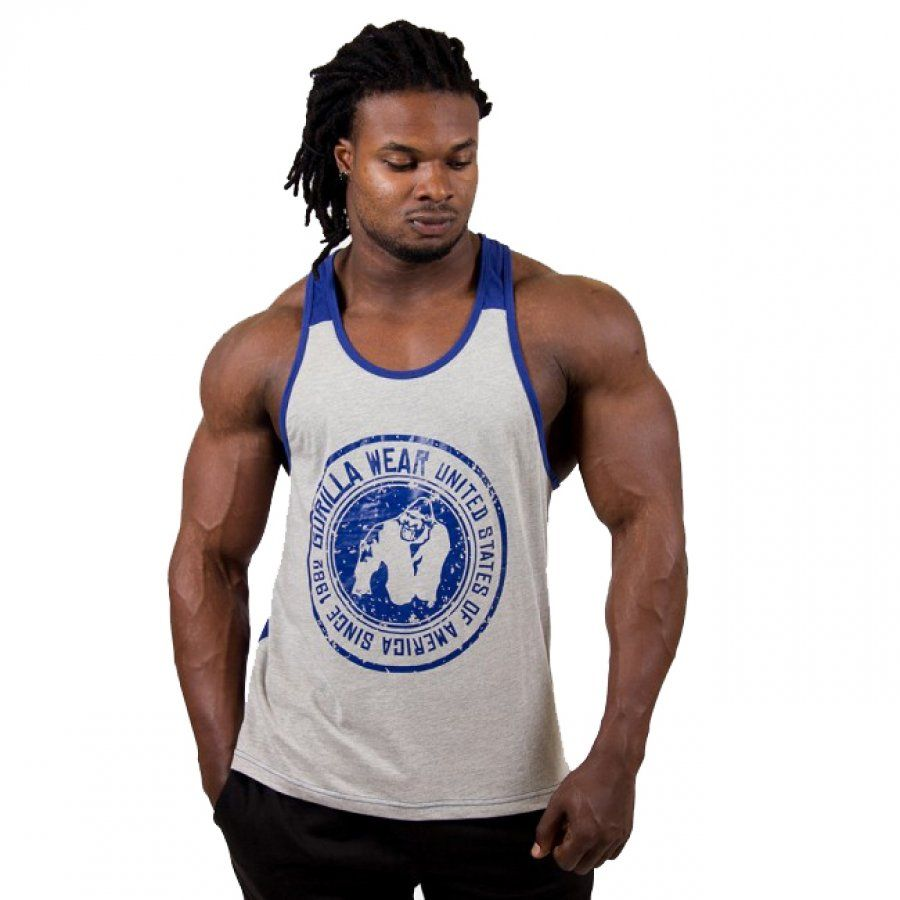 cd2ec4dcf4 GORILLA WEAR - ROSWELL TANK TOP - SZÜRKE/KÉK TRIKÓ - FittCenter.hu